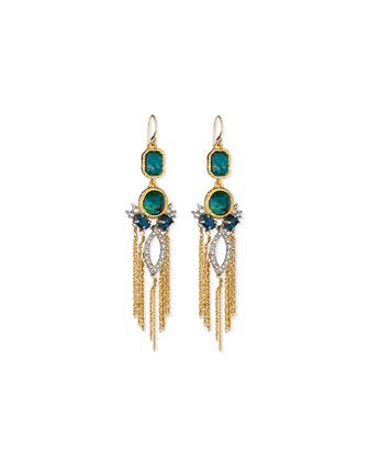 Chrysocolla & Crystal Tassel Earrings