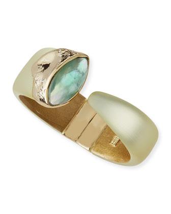 Vert d'Eau Lucite Hinge Bracelet, Ivory