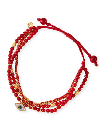 3-Strand Red Beaded Bracelet with Evil Eye Charm