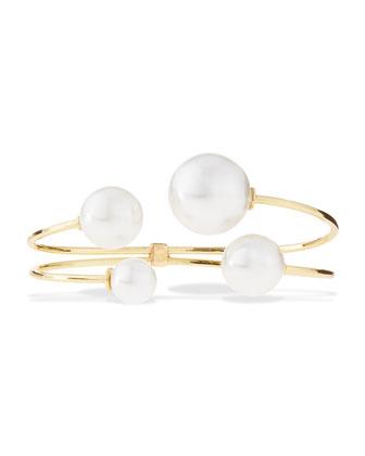 Pearly Quartet Cuff Bracelet