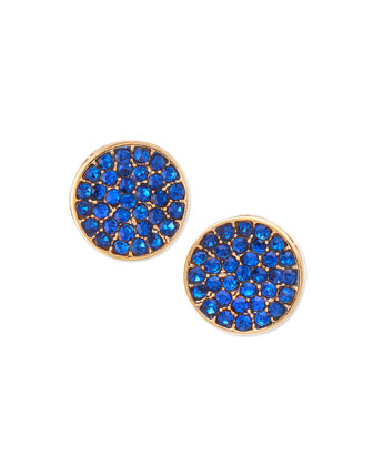 Blue Crystal Disc Stud Earrings