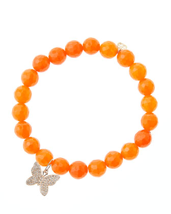 8mm Orange Agate Beaded Bracelet with 14k Rose Gold Diamond Butterfly Charm ...