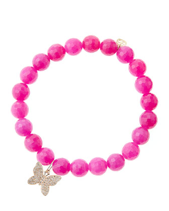 8mm Fuchsia Agate Beaded Bracelet with 14k Rose Gold Diamond Butterfly ...