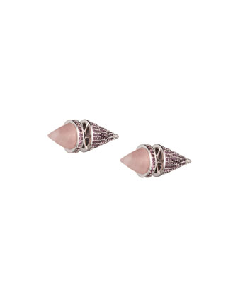 Front/Back Cone Stud Earrings with Rose Quartz
