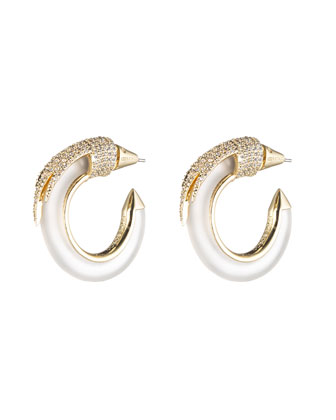 Gold-Plated Crystal Plume Hoop Earrings