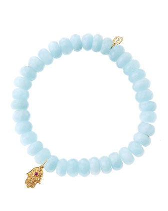 Aquamarine Rondelle Beaded Bracelet with 14k Gold Hamsa Charm (Made to ...