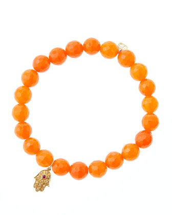 Orange Agate Beaded Bracelet with 14k Gold Hamsa Charm (Made to Order) ...