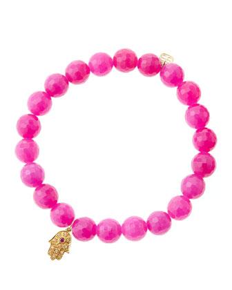 Fuchsia Agate Beaded Bracelet with 14k Gold Hamsa Charm (Made to Order) ...