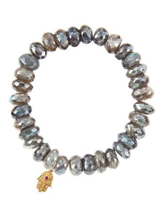 Mystic Labradorite Rondelle Beaded Bracelet with 14k Gold Hamsa Charm (Made ...