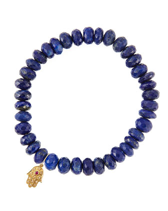 Lapis Rondelle Beaded Bracelet with 14k Gold Hamsa Charm (Made to Order) ...