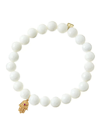 White Agate Beaded Bracelet with 14k Gold Hamsa Charm (Made to Order) ...