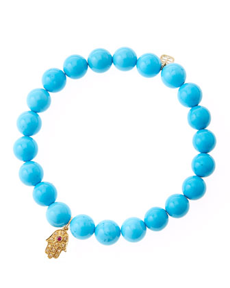 Turquoise Beaded Bracelet with 14k Gold Hamsa Charm (Made to Order)