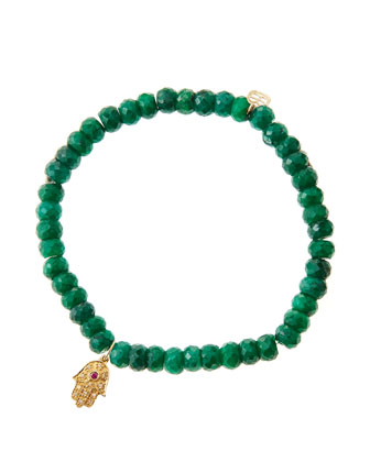 Emerald Rondelle Beaded Bracelet with 14k Gold Hamsa Charm (Made to Order) ...