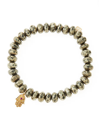Champagne Pyrite Rondelle Beaded Bracelet with 14k Gold Hamsa Charm (Made ...
