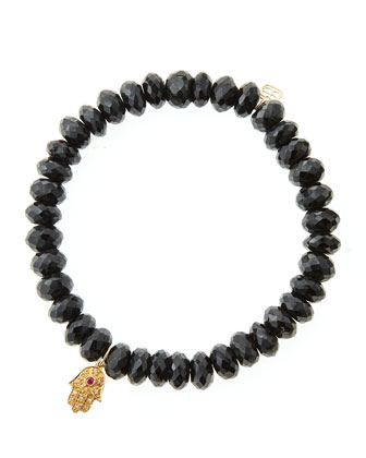 Black Spinel Rondelle Beaded Bracelet with 14k Gold Hamsa Charm (Made to ...