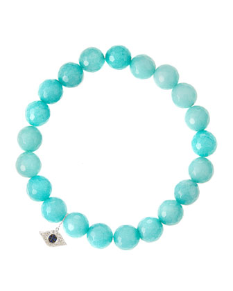 Aqua Jade Beaded Bracelet with 14k White Gold Evil Eye Charm (Made ...