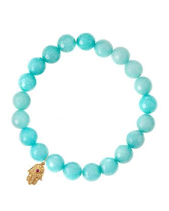 Aqua Jade Beaded Bracelet with 14k Gold Hamsa Charm (Made to Order) ...