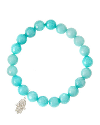 Aqua Jade Beaded Bracelet with 14k White Gold Diamond Hamsa Charm (Made ...