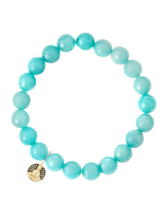 Aqua Jade Beaded Bracelet with 14k Gold Sitting Buddha Charm (Made to ...