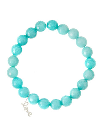 Aqua Jade Beaded Bracelet with 14k White Gold Diamond Love Charm (Made ...