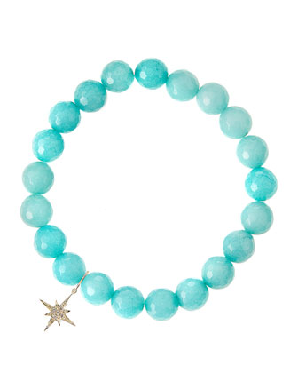 Aqua Jade Beaded Bracelet with 14k Gold Diamond Starburst Charm (Made to ...
