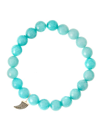 Aqua Jade Beaded Bracelet with 14k Gold Horn Charm (Made to Order) ...