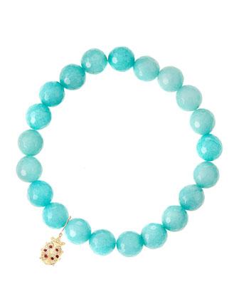 Aqua Jade Beaded Bracelet with 14k Gold Ladybug Charm (Made to Order) ...