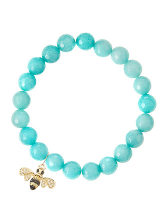 Aqua Jade Beaded Bracelet with 14k Gold Diamond Bee Charm (Made to ...