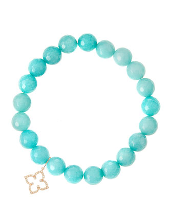 Aqua Jade Beaded Bracelet with 14k Rose Gold Moroccan Flower Charm (Made ...