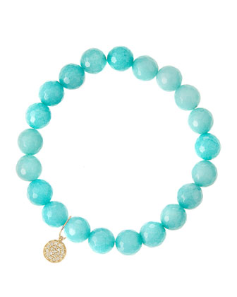 Aqua Jade Beaded Bracelet with 14k Gold Diamond Disc Charm (Made to ...