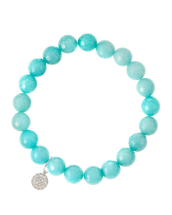 Aqua Jade Beaded Bracelet with 14k White Gold Diamond Disc Charm (Made ...
