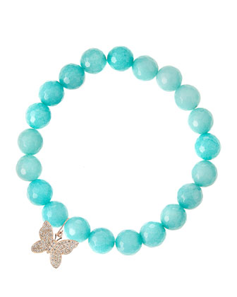 Aqua Jade Beaded Bracelet with 14k Rose Gold Diamond Butterfly Charm (Made ...