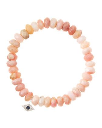 Pink Opal Rondelle Beaded Bracelet with 14k White Gold Evil Eye Charm ...