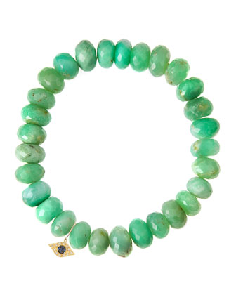 Chrysoprase Rondelle Beaded Bracelet with 14k Evil Eye Charm (Made to ...