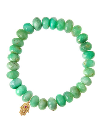 Chrysoprase Rondelle Beaded Bracelet with 14k Hamsa Charm (Made to Order)