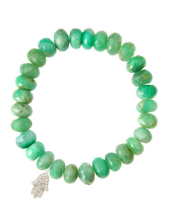Chrysoprase Rondelle Beaded Bracelet with 14k White Gold Diamond Hamsa ...