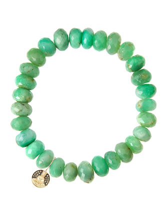 Chrysoprase Rondelle Beaded Bracelet with 14k Buddha Charm (Made to Order)