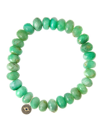Chrysoprase Rondelle Beaded Bracelet with Round Evil Eye Charm (Made to ...