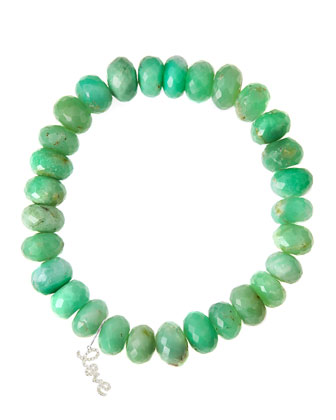 Chrysoprase Rondelle Beaded Bracelet with 14k White Gold Love Charm (Made ...