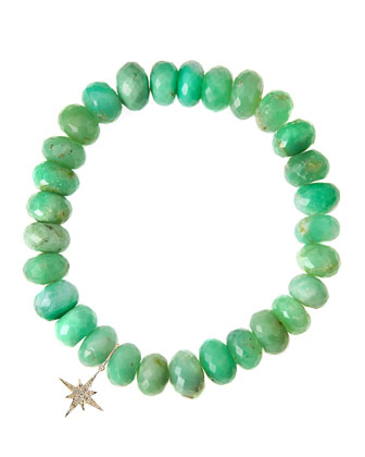 Chrysoprase Rondelle Beaded Bracelet with 14k Starburst Charm (Made to Order)