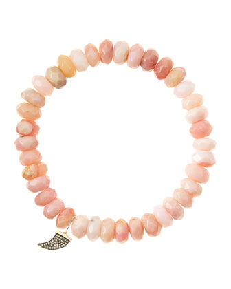 Pink Opal Rondelle Beaded Bracelet with 14k Horn Charm (Made to Order) ...