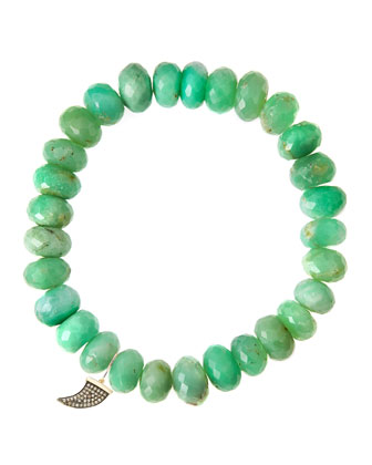 Chrysoprase Rondelle Beaded Bracelet with 14k Horn Charm (Made to Order)