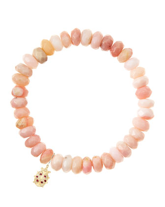 Pink Opal Rondelle Beaded Bracelet with 14k Ladybug Charm (Made to Order) ...