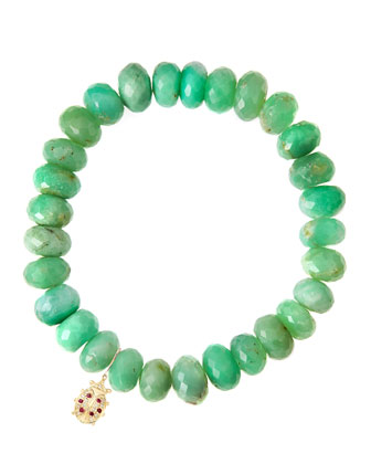 Chrysoprase Rondelle Beaded Bracelet with 14k Ladybug Charm (Made to Order)