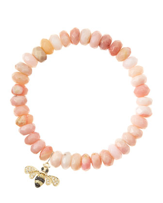 Pink Opal Rondelle Beaded Bracelet with 14k Bee Charm (Made to Order) ...