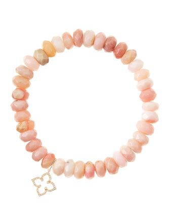 Pink Opal Rondelle Beaded Bracelet with 14k Rose Gold Moroccan Flower Charm ...