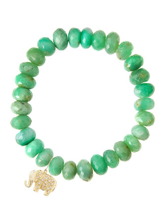 Chrysoprase Rondelle Beaded Bracelet with 14k Elephant Charm (Made to Order)