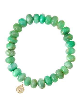 Chrysoprase Rondelle Beaded Bracelet with 14k Disc Charm (Made to Order)