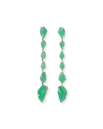 Chrysoprase Linear Kite Earrings, Mint