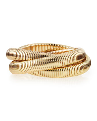Golden Serpentine Triple Bracelet
